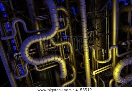 A lot of pipes on a dark background.