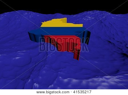 Colombia map flag in abstract ocean illustration