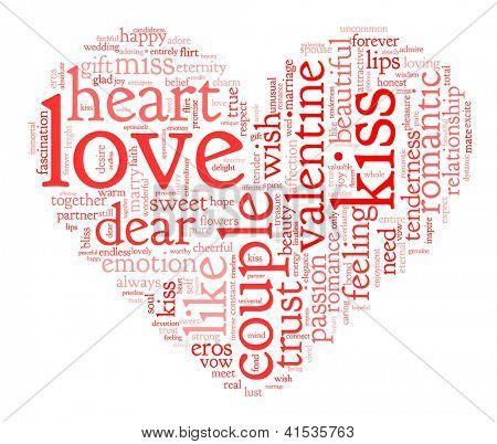 Love you and valentine concept in word tag cloud on white background