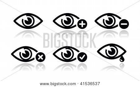 Eye sight icons set - vector