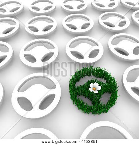 Green Car Steering Wheel
