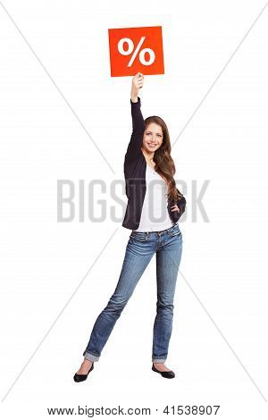 Slim Long-haired Girl Advertises A Sale