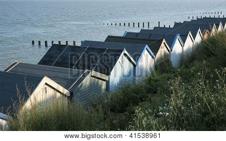 Beach Huts at Clacton-on-Sea, Essex, UK.
