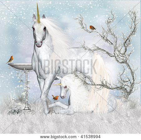 Fantasy Unicorn Winter Holiday Background / Greeting Card