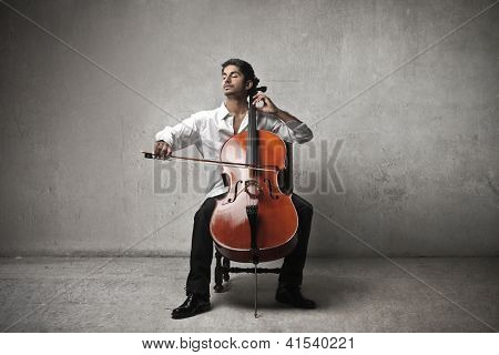Mulatto man playing a cello