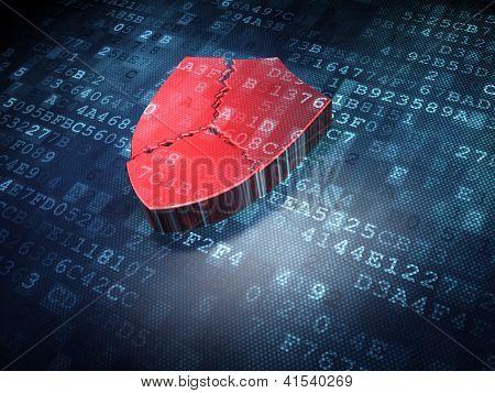 Security concept: Red Broken Shield on digital background