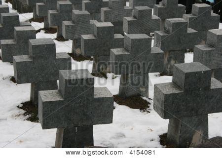 Ordered Mass Of Stone Crosses In Ancient Cemetery