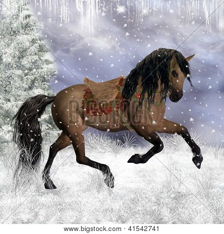 Fantasy Winter Horse In The Snow, Greeting Card / Background