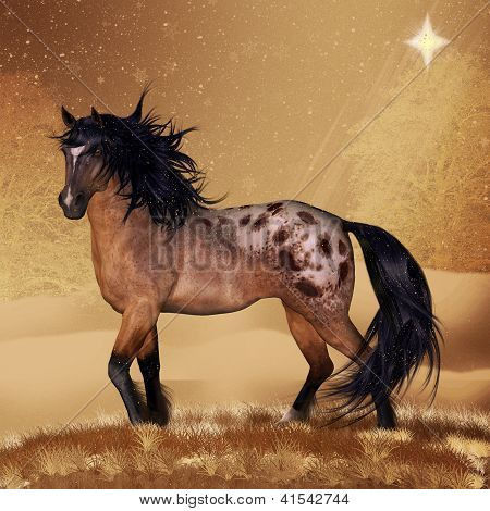 Equine Horse Christmas Holiday Card Or Wall Art
