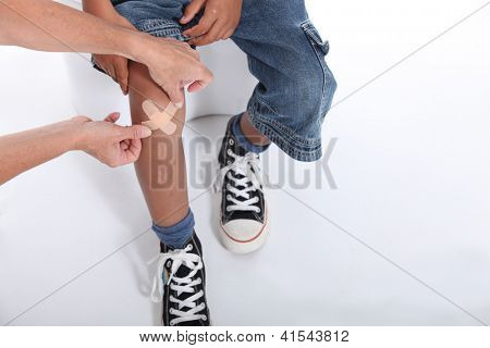 Little boy with hurt knee