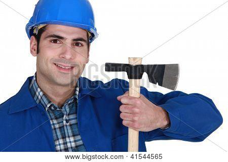 Man with a hatchet.