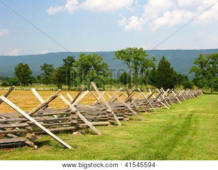 Civil War Battlefield With Fence