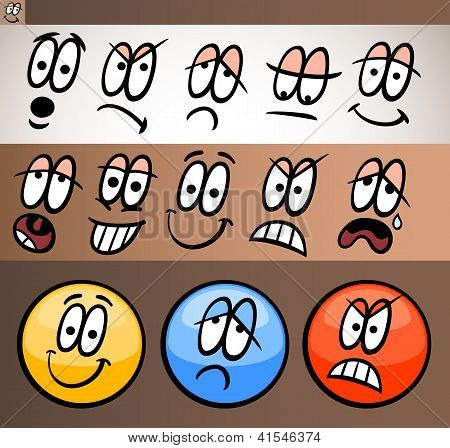 Emoticon Elements Set Cartoon Illustration