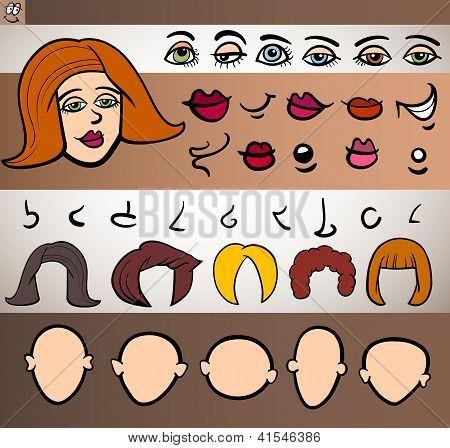 Woman Face Elements Set Cartoon Illustration
