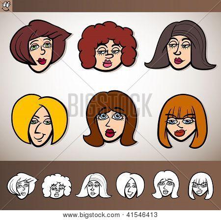 Cartoon Women Heads Set Illustration