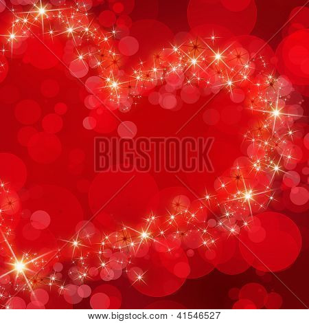 Bright, Passionate Red Abstract Background With Glowing Heart