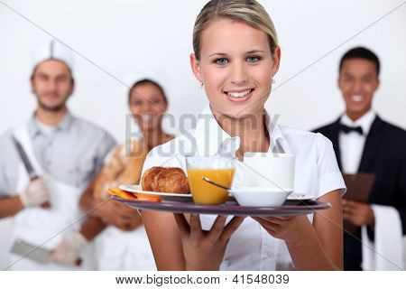 A restaurant staff.