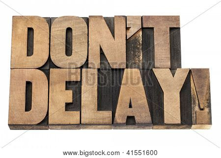 do not delay exclamation - procrastination concept  - isolated text in vintage letterpress wood type printing blocks