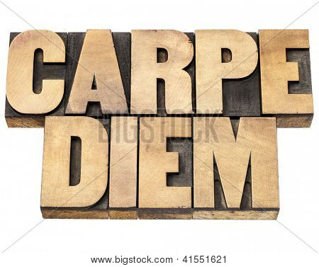 Enjoy life before it is too late, existential cautionary Latin phrase by Horace - Carpe Diem  - isolated text in vintage letterpress wood type printing blocks