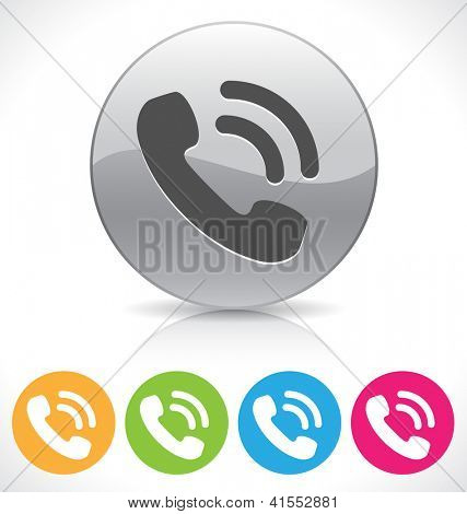 silver shiny phone button on reflection plate/ EPS 10 vector illustration, contains transparencies