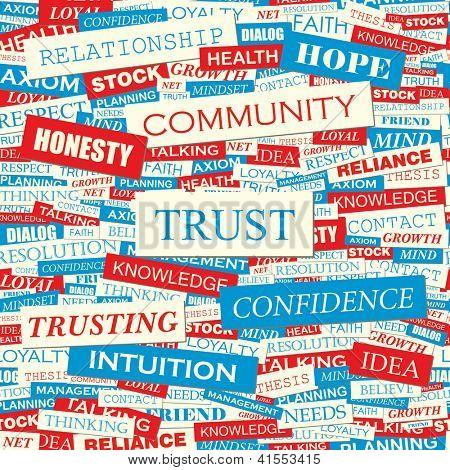 TRUST. Word collage. Seamless illustration.