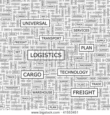 LOGISTICS. Word collage. Seamless illustration.