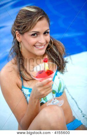 Bikini Girl Having A Cocktail
