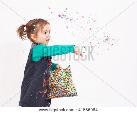 Cute Girl Throw Confetti