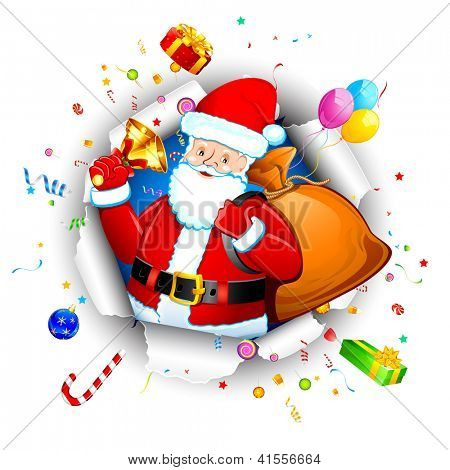illustration of santa claus with christmas goodies coming out from torn paper