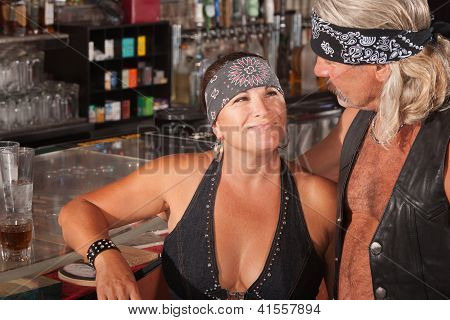 Tough Loving Couple In Bar