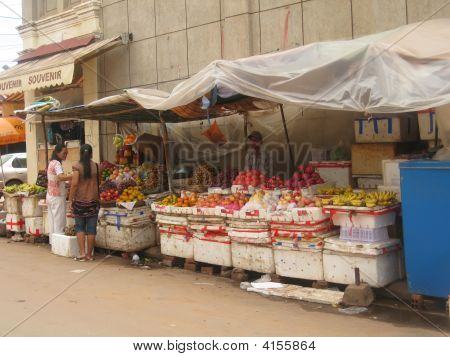 Street Stall With Fruit And Vegetables