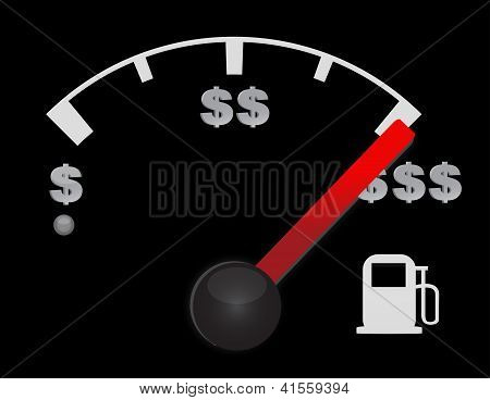 Gas Gauge Of A Car With Dollar Symbols