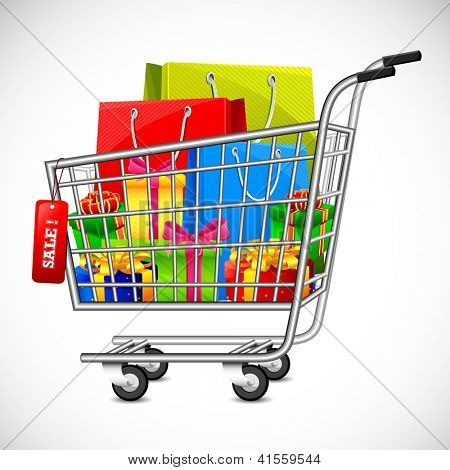 illustration of cart full of shopping bag and gift box showing sale