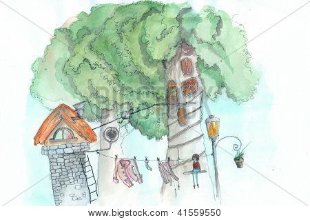 Houses In Trees