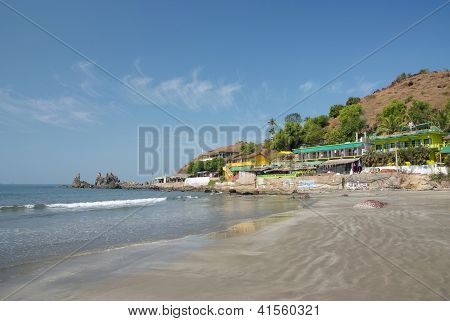Deserted Beach With Huts In Goa, India