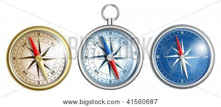 compass illustrations set isolated on white