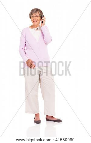 happy elderly woman talking on mobile phone isolated on white
