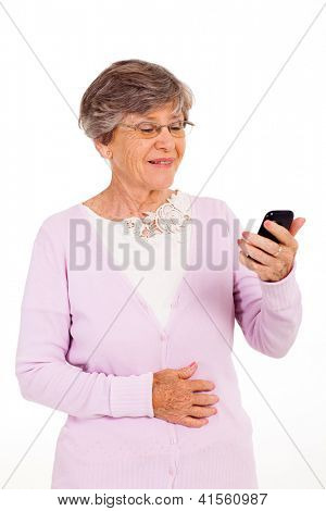 senior woman reading message on smart phone isolated on white