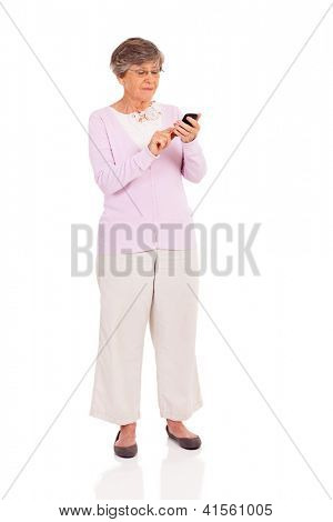 senior woman using smart phone isolated on white