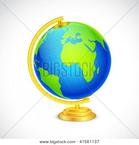 illustration of globe in stand on white background