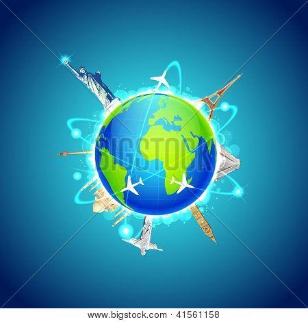 Darstellung der Sehenswürdigkeiten rund um die Welt, Welt-Reisen anzeigen