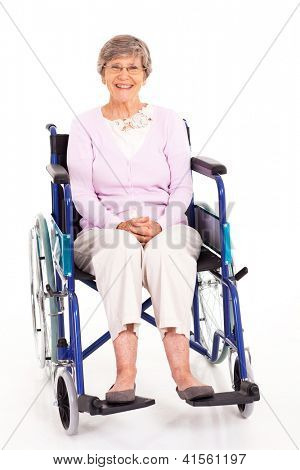 happy elderly woman sitting on wheelchair isolated on white