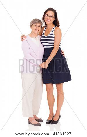 happy adult daughter and senior mother isolated on white