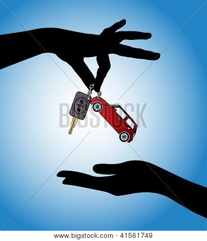 Human Hands Exchanging Modern Car Keys With Automatic Locking System And Red Car Symbol