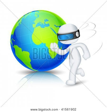 illustration of 3d man in vector fully scalable running around globe
