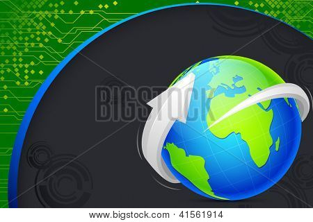 illustration of globe on abstract technological background