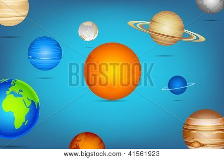 illustration of planet of solar system on abstract background