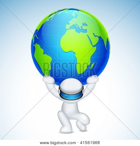 illustration of 3d man in vector fully scalable holding earth on his back