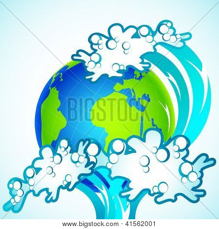 illustration of tsunami wave splashing on earth