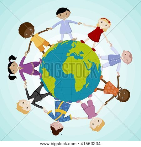 illustration of kids of different nation joining hand standing around the globe